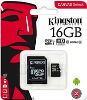 Карта памяти Kingston microSDHC 16Gb Class10 + адаптер