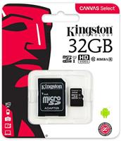 Карта памяти Kingston microsdhc 32gb class 10 canvas select + адаптер (sdcs/32gb) / (sdcs2/32gb)